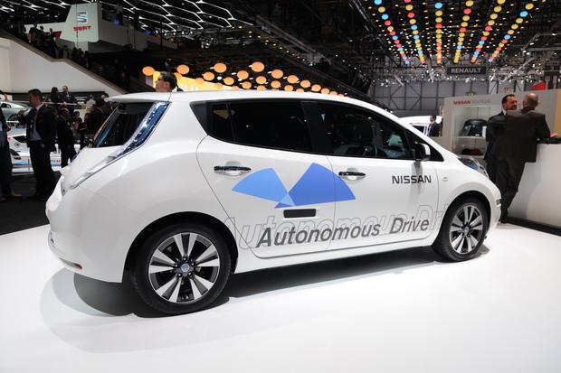 Nissan displays its autonomous prototype at the Geneva Motor Show last year. Credit: Creative Commons Lic.